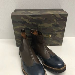 Sabatter ankle boot leather blue/brown size 10